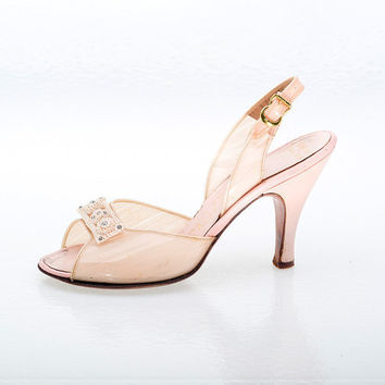 Vintage Shoes 50s Designer Sugar Pink Vinyl by littlethingsvintage