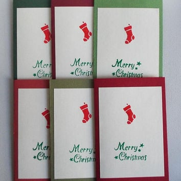 Christmas Card Set, Traditonal, Merry Christmas, Stocking Stuffer, Simple , Stationery Set, Embossed, Handmade,Gift