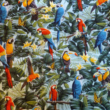 Wings of Paradise, Tropical Birds, By the Yard, 44/45 inches Wide, Colorful Tropical Birds
