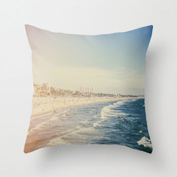Santa Monica Beach Throw Pillow or Cover California Photography Blue Seafoam Art Ocean Waves