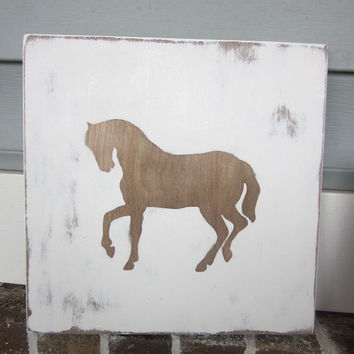 Horse - Western Nursery - Distressed Rustic Wood Wall Art - Painted Sign decor, Walnut Stain, Horse Lover, Western Room, Cowgirl, Cowboy