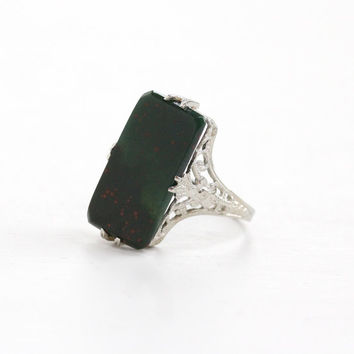 Vintage 14k White Gold Bloodstone Filigree Ring - Size 7 Art Deco 1920s Large Rectangular Green with Red Splashes Fine Statement Jewelry