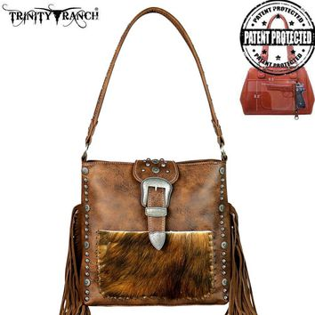 Trinity Ranch Tooled Hair-On Leather Concealed Handgun Collection Hobo Handbag