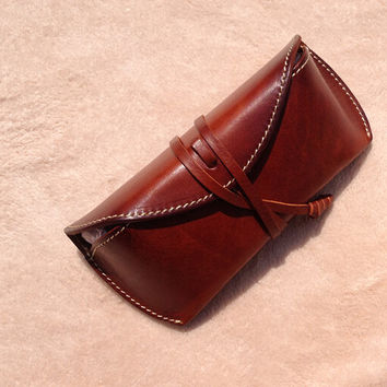 Vintage leather glasses case ,leather glasses box,handmade retro glasses box,eyeglass case