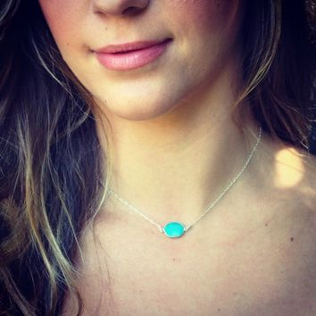 Sterling Silver REAL Turquoise Stone Necklace/ Choker. Petite, dainty, elegant!