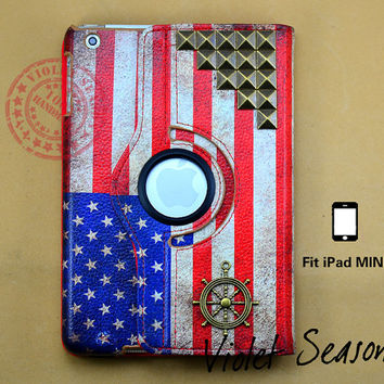 Vintage America flag with bronze studs and rubber ipad mini case , Flags leather ipad mini case , American Studded ipad mini cover