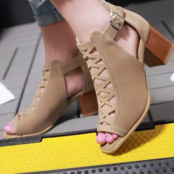 Newest Women Summer Fish Mouth Sandals High Heels Khaki