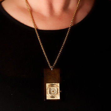 Vintage Wooden Watch Pendant Necklace