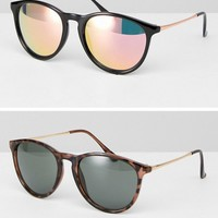 ASOS 2 Pack Skinny Keyhole Retro Round Sunglasses In Tortoise And Black at asos.com
