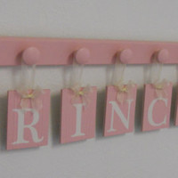 PRINCESS - Baby Girl Nursery Wall Decor Personalized Princess 8 Light Pink Plaques with Pastel Pink Wooden Hooks