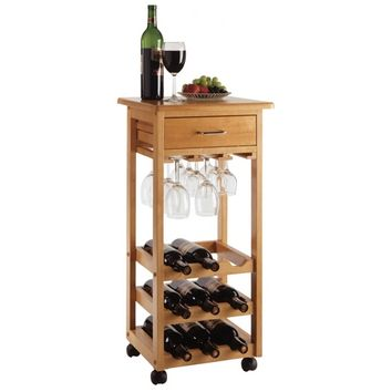 Light Oak Wine Cart with glass rack, drawer.