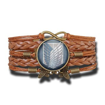 Attack on Titan  Levi Rivaille Emblem Scouting Legion Vintage  Leather Bracele Glass Cabochon Jewelry Anime Cosplay Gift