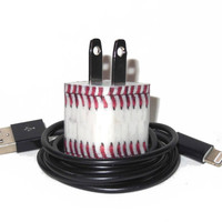 Baseball Design iPhone Charger