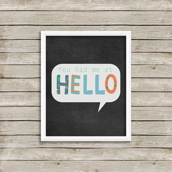 Hello - Wall Art, Print 8 x 10 INSTANT Digital Download Printable