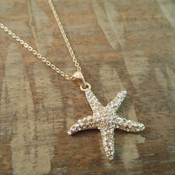 Rhinestone Starfish Necklace - Gold Starfish Necklace