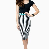 Vertical Stripe Belted Pencil Skirt