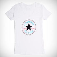 Converse Womens Chuck Taylor Patch V Neck Tee White