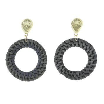 Dolores Round Rattan Earrings
