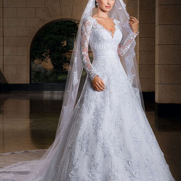 2016 New Arrival Long sleeve Wedding Dresses Wedding Custom-Made Bridal Gown Plus Size Vestido De Noiva