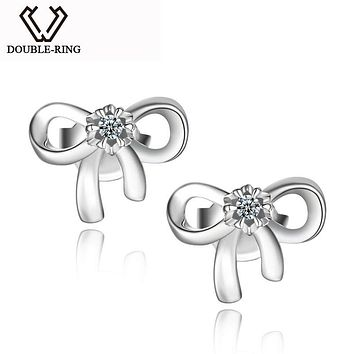 DOUBLE-R Women Diamond Earrings 0.04ct Classic Stud Earrings Butterfly 925 Sterling Silver Fine Jewelry Customized CAE01814SA
