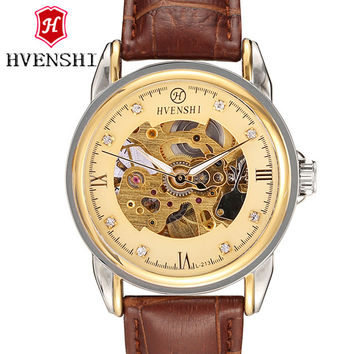 HVENSHI automatic mechanical watch male business casual, blue diamond hollow 50M waterproof round leather strap automatic table