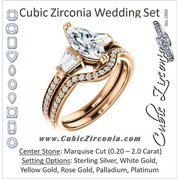 CZ Wedding Set, featuring The Hazel Rae engagement ring (Customizable Marquise Cut Design with Quad Baguette Accents and Pavé Band)