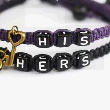 His & Hers Bracelets,Couples bracelet,Personalized letter bracelet,Boyfriend Girlfriend Jewelry,set of 2 bracelet--different color available = 1929899204