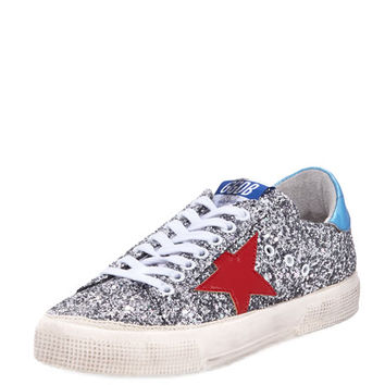 Golden Goose May Glitter Star Low-Top Sneaker