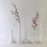Set of 5 Vintage White Milk Glass Bud Vases - Instant Collection