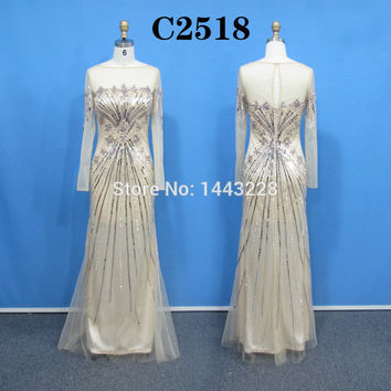 Real Sample Picture Sparkly Prom Dresses Long Sleeve Fitted Crystal Beaded Sequin Champagne Tulle Luxury Party Dress