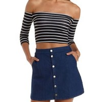 Black/White Striped Off-the-Shoulder Crop Top by Charlotte Russe