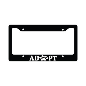 Adopt Paws Pet Dog Cat Paw Print Funny Car License Plate Frame