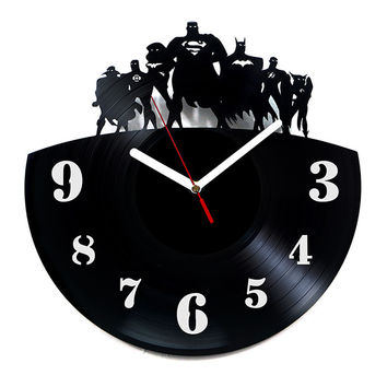 Vinyl Clock - Justice League with numbers