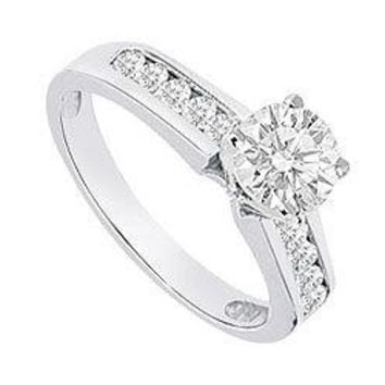Semi Mount Engagement Ring in 14K White Gold with 0.30 CT Diamonds Not Included Center Diamond