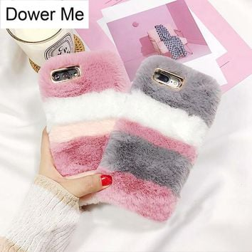 Dower Me Newest Fashion Super Cute Winter Warm Stripe Color Fluffy Rabbit Fur Soft Phone Case Cover For Iphone X 8 7 6 6S Plus
