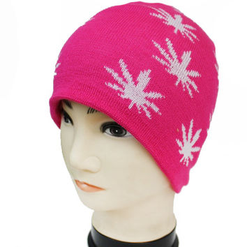 * Hip Colorful Knit Short Beanie With all Over Cannabis Leaf Print In Hot Pink