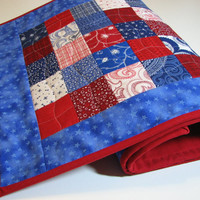 Americana Quilted Table Runner--Red, White and Blue