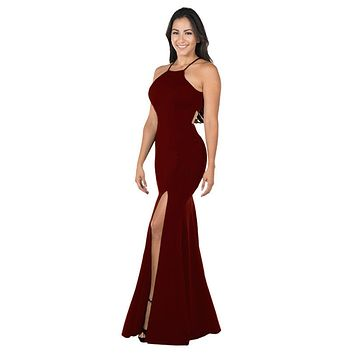 Burgundy Halter Long Formal Dress Cut-Out Back with Slit