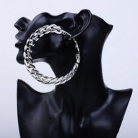 "3.50"" chain link large hoop pierced earrings basketball wives"
