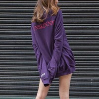 VETEMENTS Fashion Solid Pagoda Sleeve Loose Top Sweater Pullover