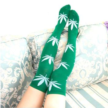 Marijuana Leaf Weed Over The Knee Thigh Socks - Women High Socks