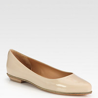 Patent Leather Zip-Detailed Ballet Flats - Zoom - Saks Fifth Avenue Mobile
