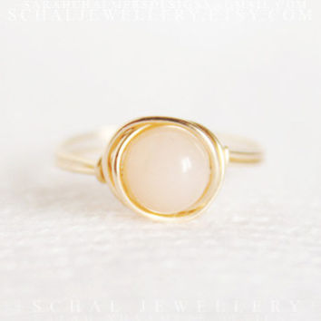 "14K Gold filled ""Pretty-in-Pink"" Pink Opal Ring, wire wrapped ring, gold ring, handmade jewelry, unique ring"