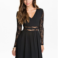 Black Floral Lace Long Sleeve V-Neck Chiffon Casual Mini Dress