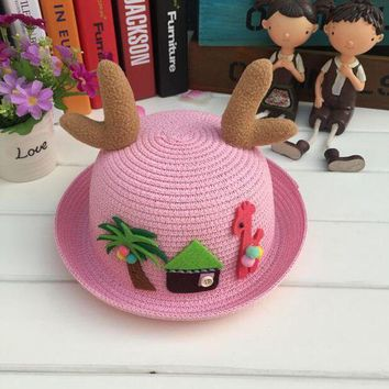 LMF78W 1 Pcs 2017 New Cartoon Fawn Children Sun Hats Spring Summer Beach Straw Hats For Girl And Boy 9 Colors 8543