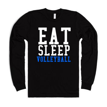 Eat Sleep Volleyball long sleeve black tee t shirt