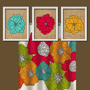 Colorful Aqua Red Yellow Flourish Flower Artwork Set of 3 Bathroom Prints Wall Decor Art Picture Match