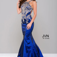 JVN by Jovani Halter Mermaid Dress- Navy