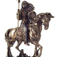 Mandan Indian Chief Riding Horse Statue, Bronze Finish 7H