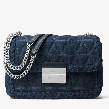 DCCKUG3 Michael kors Sloan Large Quilted-Denim Shoulder Bag in Indigo